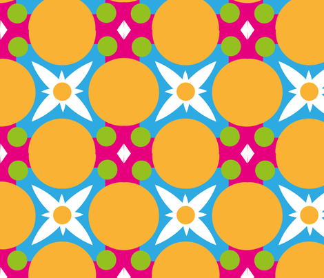 Colour Retro Daisy fabric by peaceandcookies on Spoonflower - custom fabric
