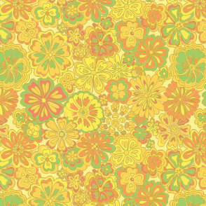Wildflowers gold ivory green
