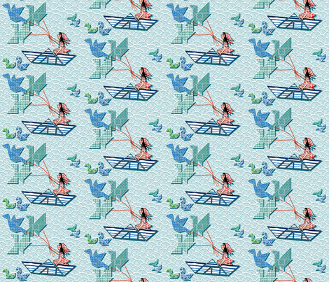 Small girl on the tangram boat fabric by magic_pencil on Spoonflower - custom fabric