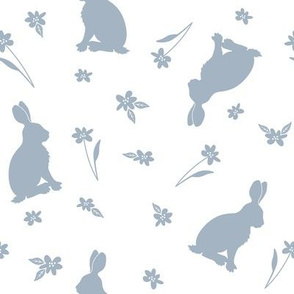 Rabbits and flowers_bluegray