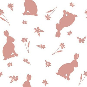 Rabbits and flowers_pink