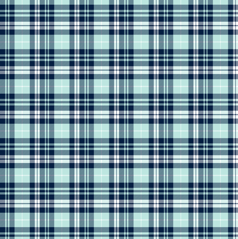 (micro print) fall plaid (blue, navy, white) || the bear creek collection fabric by littlearrowdesign on Spoonflower - custom fabric