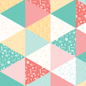 Pastel Potter Cheater Quilt - Teal, Coral & Yellow