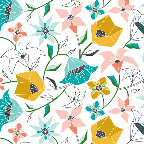 Calliope - Geometric Floral Aqua Pink & Gold fabric by heatherdutton on Spoonflower - custom fabric
