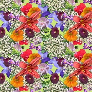 Multi Floral Green ground