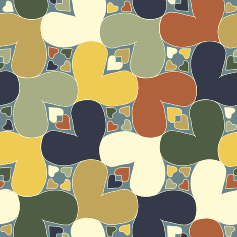 Bayeux Hearts fabric by eclectic_house on Spoonflower - custom fabric