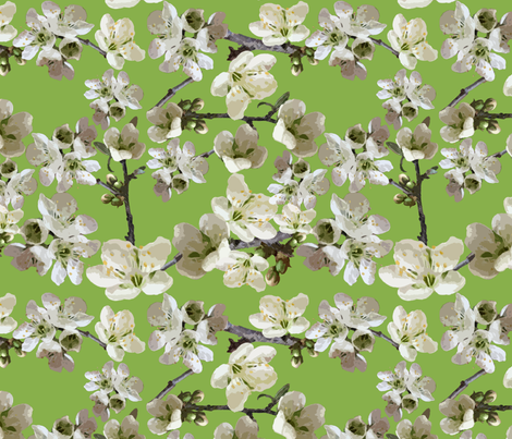 Almond Blossoms and Green fabric by artsyroom on Spoonflower - custom fabric