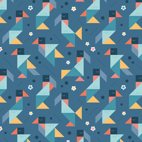 Birds fabric by la_fabriken on Spoonflower - custom fabric
