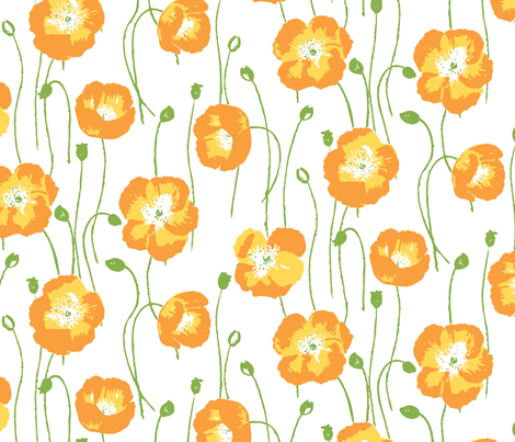 poppies - orange fabric by jillbyers on Spoonflower - custom fabric