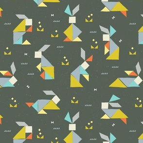 Tangram Bunnies in Stone Grey by Friztin