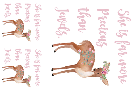 """2 - 17"""" Pillows * 1 - 36"""" MINKY / Deer with Quote She is Far More Precious  fabric by shopcabin on Spoonflower - custom fabric"""