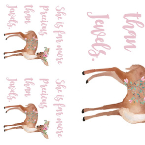 """2 - 17"""" Pillows * 1 - 36"""" MINKY / Deer with Quote She is Far More Precious"""