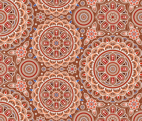 Large Brown Mandalas fabric by woodmouse&bobbit on Spoonflower - custom fabric