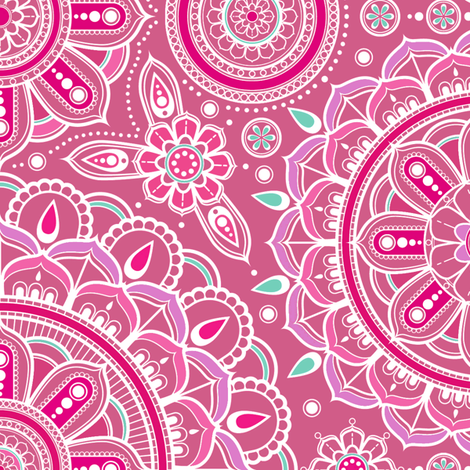 Large_Pink_Mandalas fabric by woodmouse&bobbit on Spoonflower - custom fabric