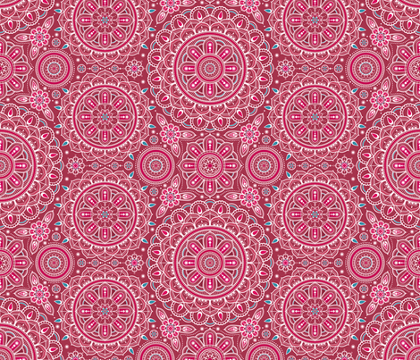 Red_and_Aqua_Mandalas fabric by woodmouse&bobbit on Spoonflower - custom fabric