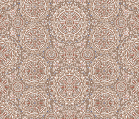 Beige_Mandalas fabric by woodmouse&bobbit on Spoonflower - custom fabric