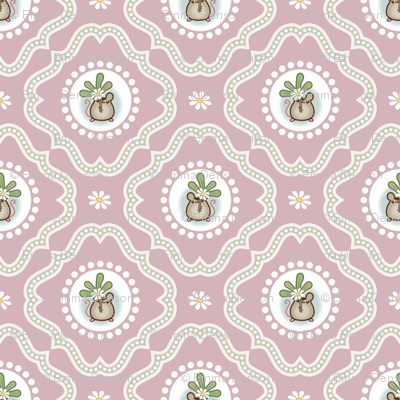 Wind Flower Damask Pink Ditsy