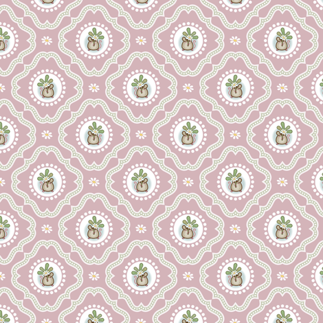 Wind Flower Damask Pink Ditsy fabric by woodmouse&bobbit on Spoonflower - custom fabric