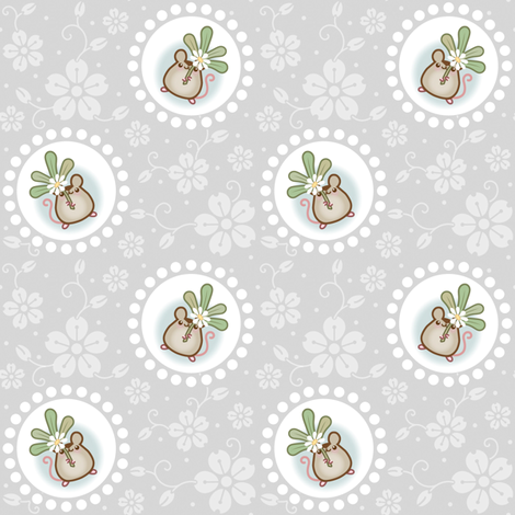 Wind Flower Mouse Grey large fabric by woodmouse&bobbit on Spoonflower - custom fabric