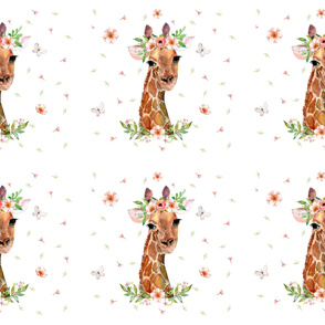 "54""x36"" / 6 to 1 Yard MINKY / Floral Giraffe"