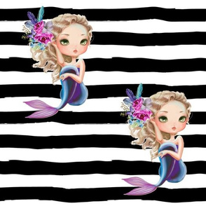 Lilac Mermaid / Black and White Stripes