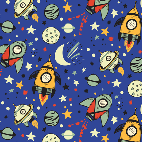 Rocket ships fabric jacquelinehurd spoonflower for Rocket fabric