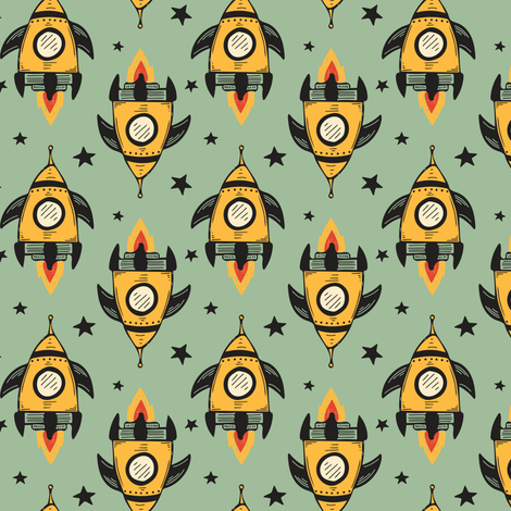Yellow Rocket Ship fabric by jacquelinehurd on Spoonflower - custom fabric
