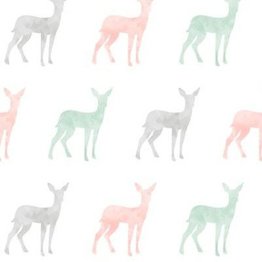 watercolor fawn - pink, grey, mint