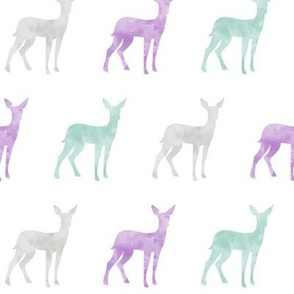 watercolor fawn - purple, dark mint, grey