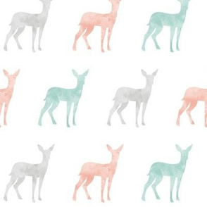 watercolor fawn - coral, dark mint, grey