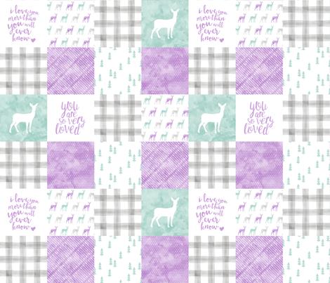 watercolor woodland wholecloth  - purple, dark mint, grey fabric by littlearrowdesign on Spoonflower - custom fabric