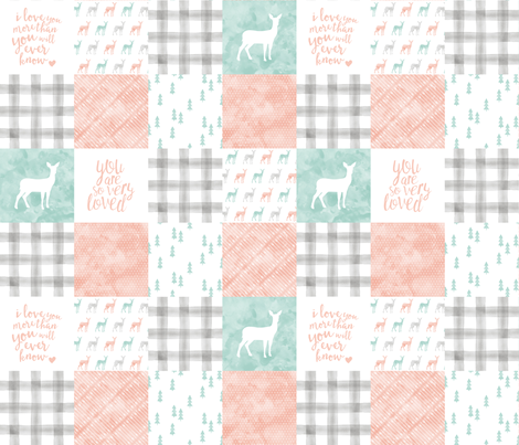 watercolor woodland wholecloth  - coral, dark mint, grey fabric by littlearrowdesign on Spoonflower - custom fabric
