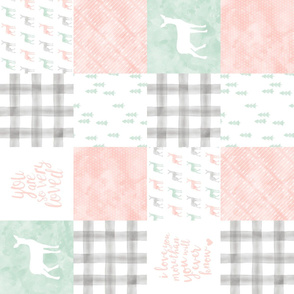 watercolor woodland wholecloth (90) - pink, grey,mint