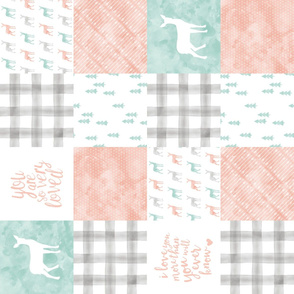 watercolor woodland wholecloth (90) - coral, dark mint, grey