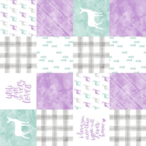 watercolor woodland wholecloth (90) - purple, dark mint, grey