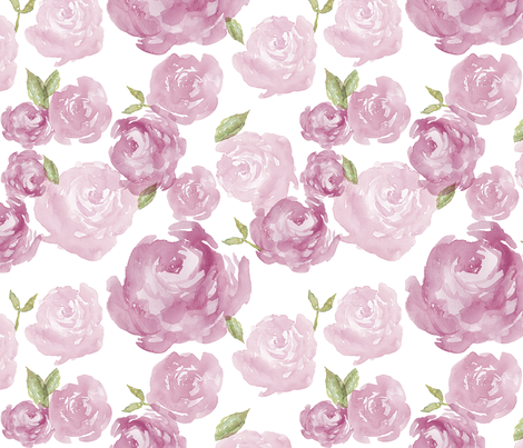 Plum Watercolor Rose fabric by laurapol on Spoonflower - custom fabric