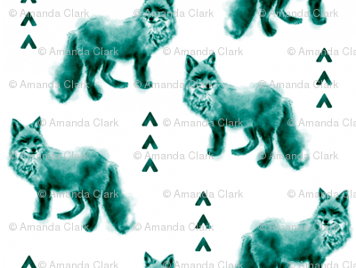 Fox and Arrows - Bright Teal and Black on White