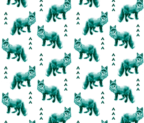 Fox and Arrows - Bright Teal and Black on White fabric by sugarpinedesign on Spoonflower - custom fabric