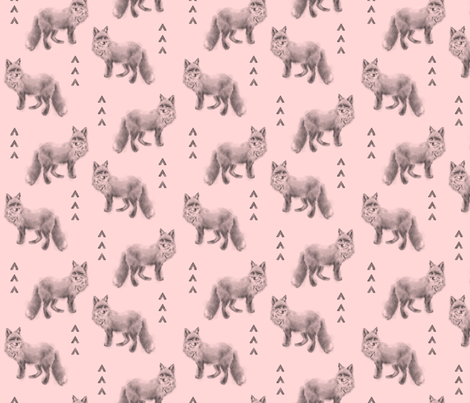 Fox and Arrows - black/grey on pink fabric by sugarpinedesign on Spoonflower - custom fabric
