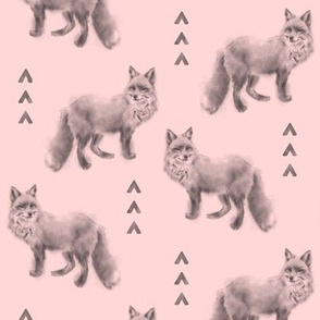 Fox and Arrows - black/grey on pink