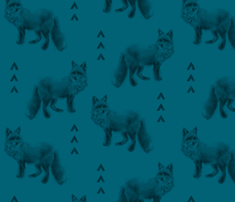 Fox and Arrows - Dark Teal fabric by sugarpinedesign on Spoonflower - custom fabric