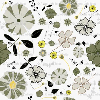 Daisy pattern-grey and yellow