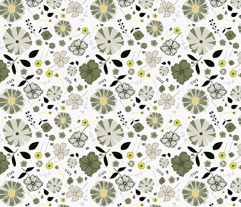 Daisy pattern-grey and yellow fabric by annelafollette on Spoonflower - custom fabric