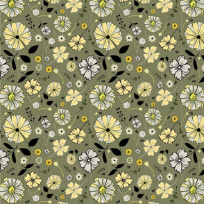 Tossed floral pattern