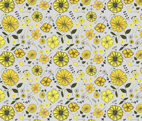 Yellow daisy pattern fabric by annelafollette on Spoonflower - custom fabric