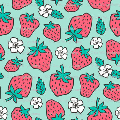 Strawberries Strawberry & Flowers Summer Fruit Red on Mint Green