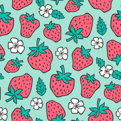 Strawberries Strawberry & Flowers Summer Fruit Red on Mint Green fabric by caja_design on Spoonflower - custom fabric