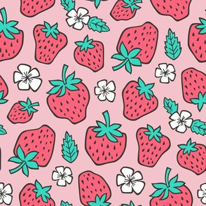 Strawberries Strawberry & Flowers Summer Fruit Red on Pink
