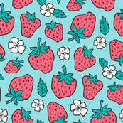 Strawberries Strawberry & Flowers Summer Fruit Red on Blue