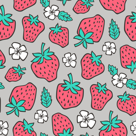Strawberries Strawberry & Flowers Summer Fruit Red on Grey fabric by caja_design on Spoonflower - custom fabric